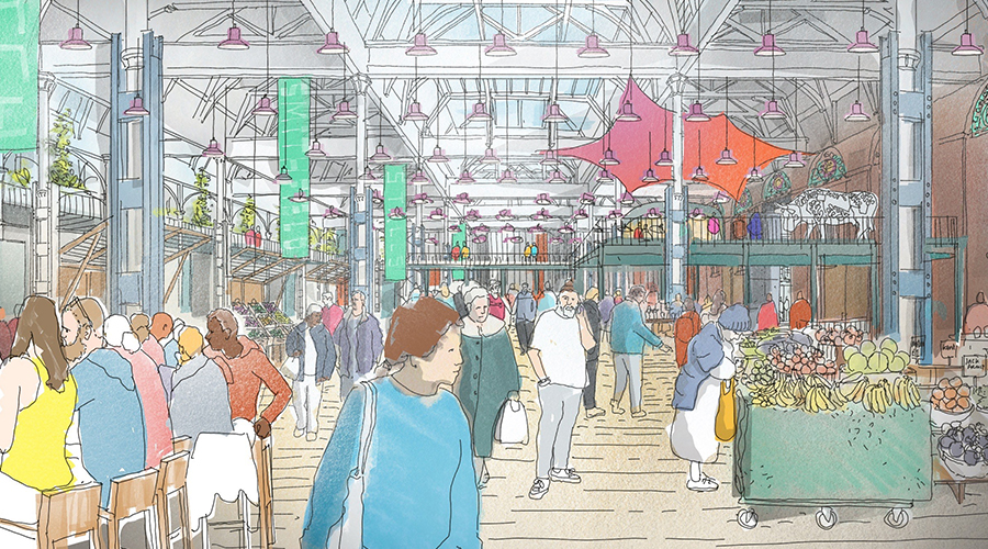 Sketch showing how the future Smithfield will make the most of the halls